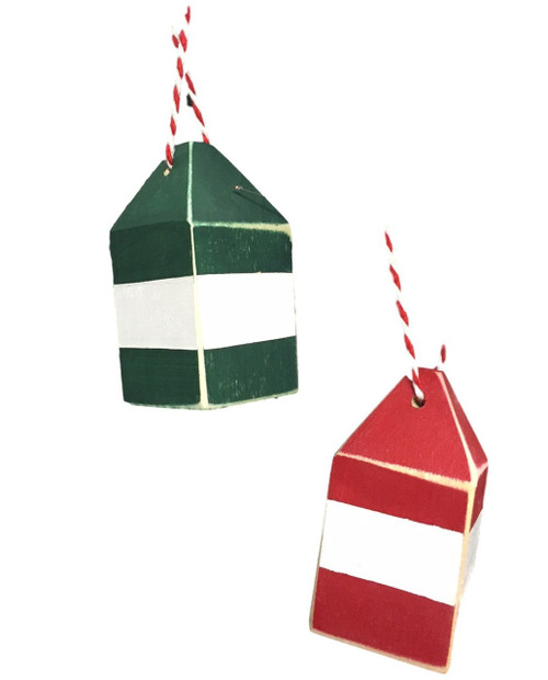Mini Wooden Buoy Christmas Ornaments  Nautical Seasons