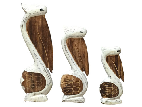 Set of 3 Large White Pelicans Wooden Nautical Seasons