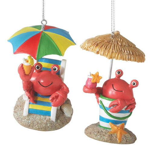 Red Crab Beach Bucket Christmas Ornaments Set of 2  Nautical Seasons