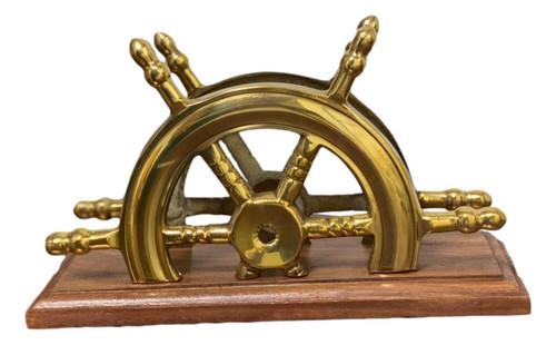 Ships Wheel Letter Holder Brass