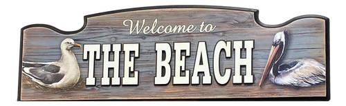 Sea Gull Pelican Welcome To The Beach Sign  Nautical Seasons