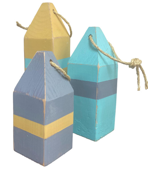 Buoys, Yellow, blue, Aqua Fishing buoys  Nautical Seasons