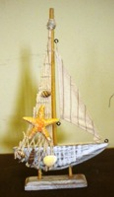 Wood Sailboat with Fishnet and Shells #3028