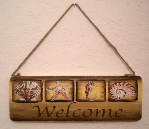 Seashell Welcome Sign  Nautical Seasons