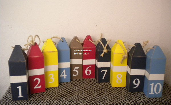 Set of 10 Vintage Style Buoys Table Number Markers #15236