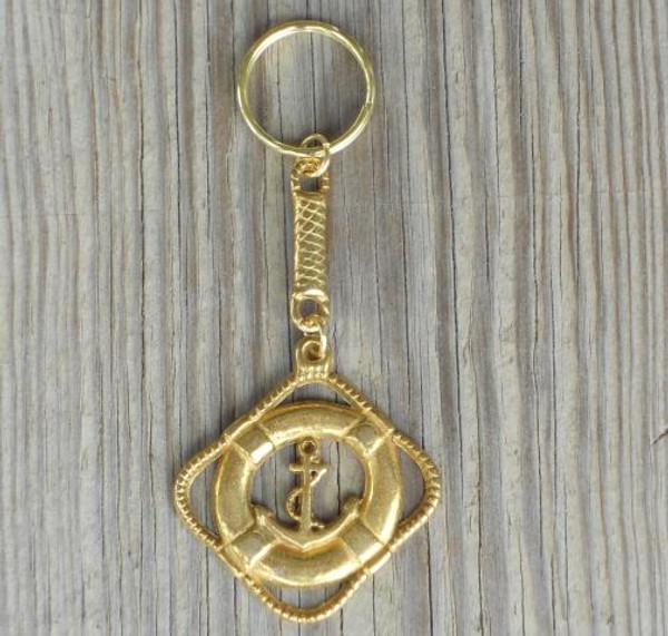 Life Ring Anchor Brass Key Chain 2551