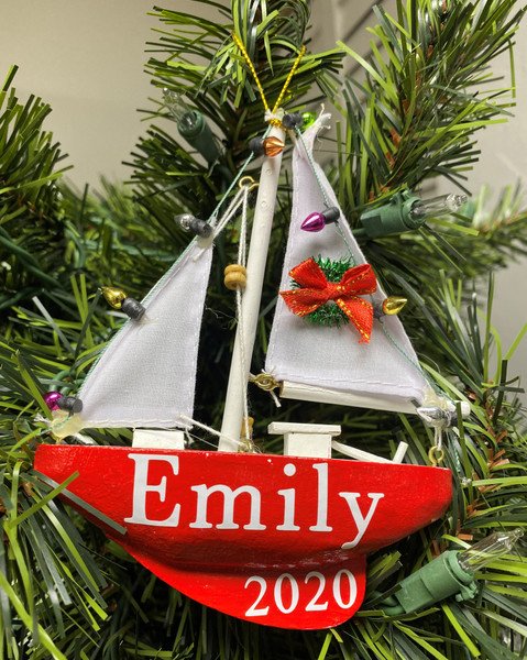 Sailboat Ornament Personalized with Names  Nautical Seasons 866-888-2628