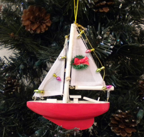 Sailboat W Wreath Christmas Ornament  Nautical Seasons
