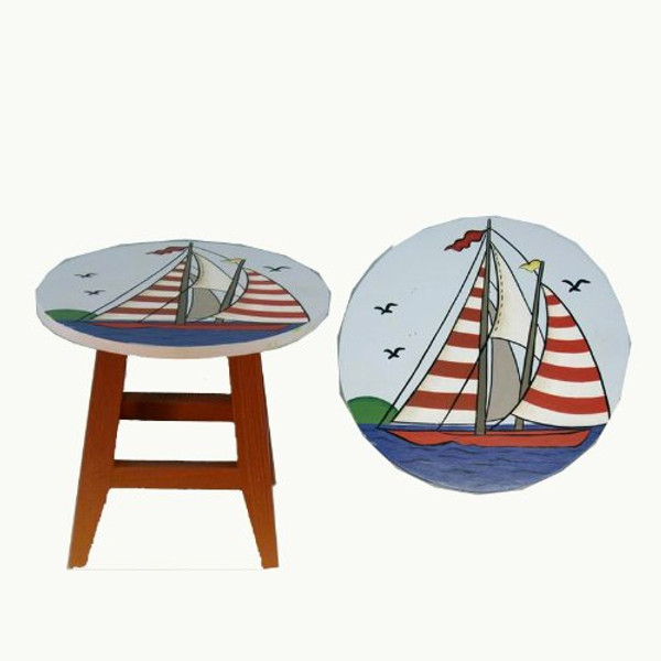Painted Sailboat Small Stool Table Decoration #2243