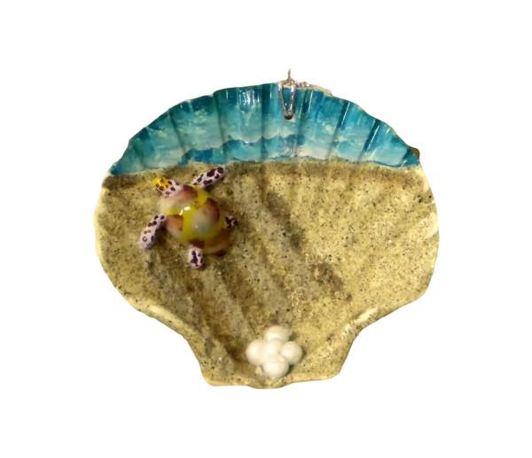 Turtle Painted Seashell Ornament Nautical Seasons