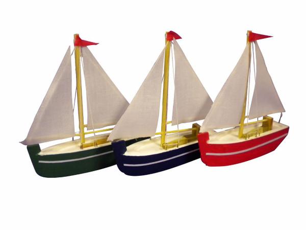 Set of 3 Sailboats Nautical Seasons