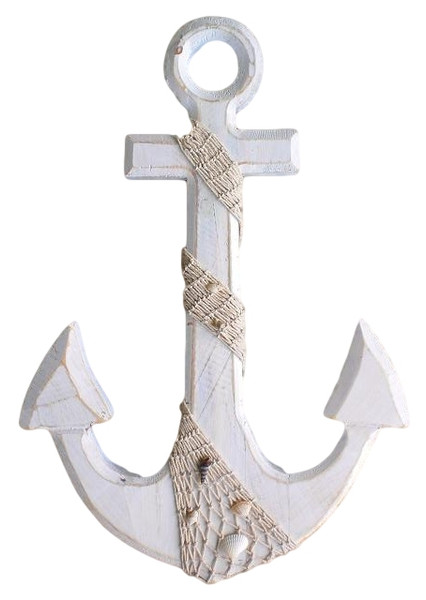 White Washed Anchor With Shells and Fish Net  Nautical Seasons