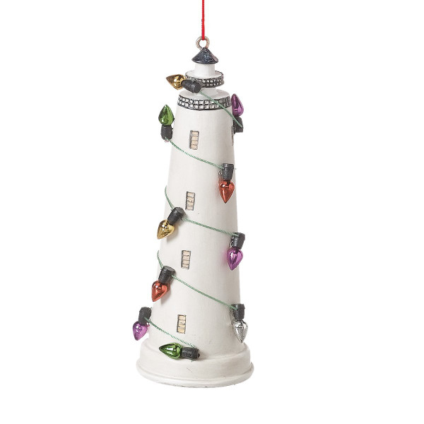 Lighthouse Ornament with decorative bulbs Nautical Seasons