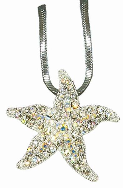 Starfish Necklace Swarovski Crystals  Nautical Seasons