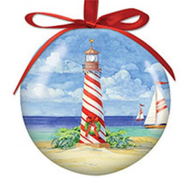 Sailboat Lighthouse Ornament  With LED Light Nautical Seasons