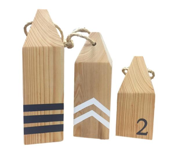 Set of 3 Wooden Buoys  Nautical Seasons