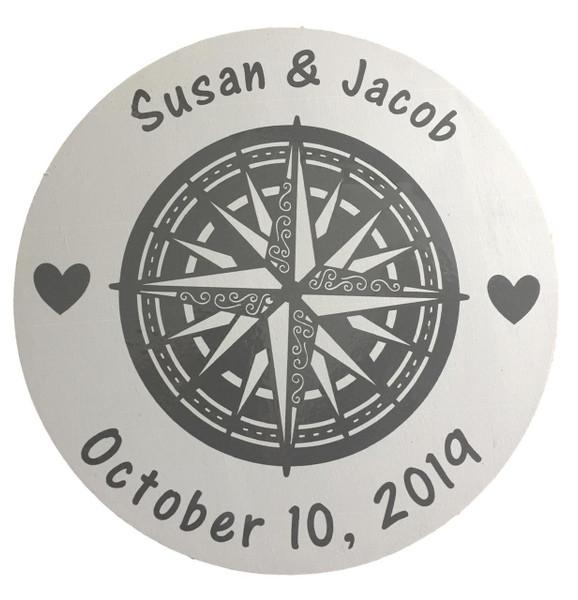 Wedding Names Compass Rose Wall Sign  Nautical Seasons