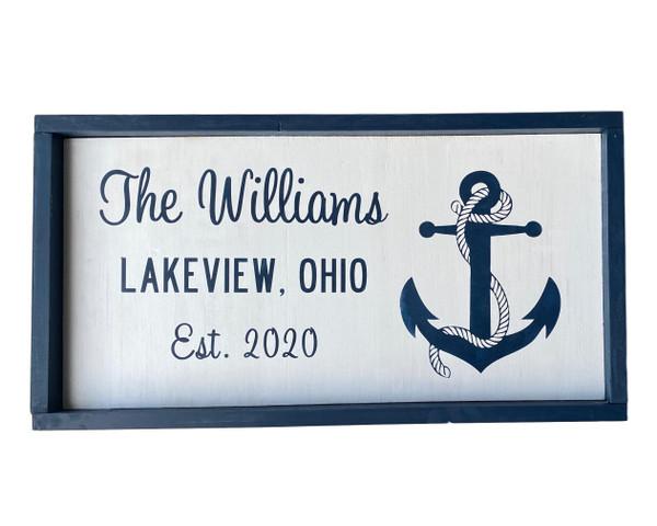 Anchor Custom Family Name Sign EST.  Nautical Seasons