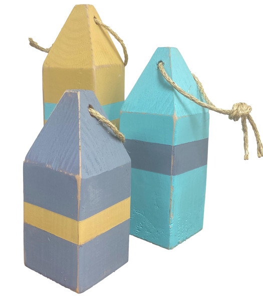 Buoys, Yellow, blue, Aqua Fishing buoys  Nautical Seasons