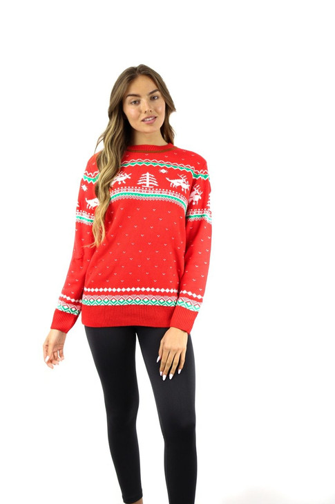 Red Reindeer Tree Christmas Sweater 8pcs