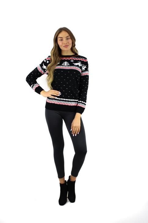 Black Reindeer Tree Christmas Sweater 13pcs