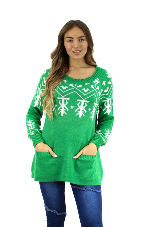Green Abstract Designed Christmas Sweater with Pockets 9pcs