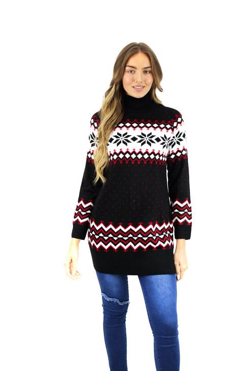 Black Geometric Snowflake Design Long Christmas Sweater 10pcs