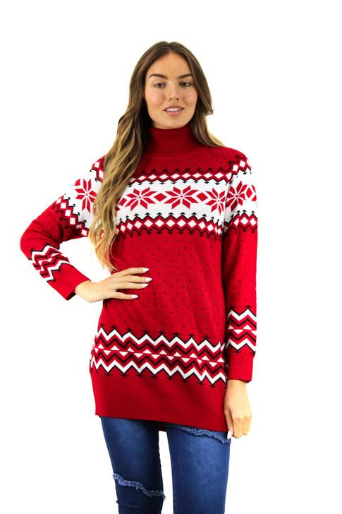 Red Geometric Snowflake Design Long Christmas Sweater 8pcs