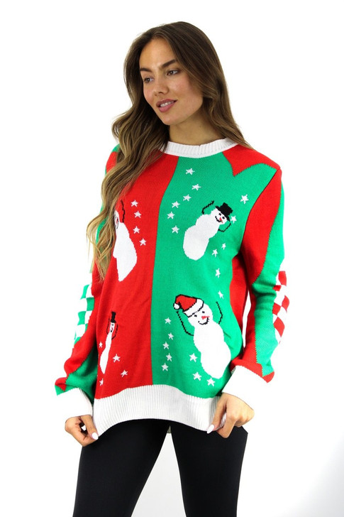 Dual Color Snowman Design Christmas Sweater 8pcs
