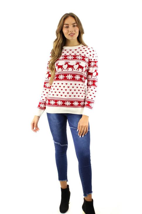 Red Reindeer Heart Snow Christmas Sweater 12pcs
