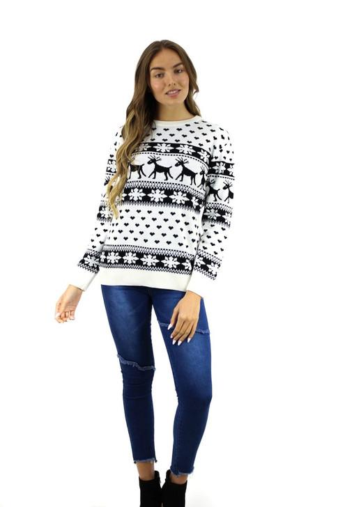 Black Reindeer Heart Snow Christmas Sweater 8pcs