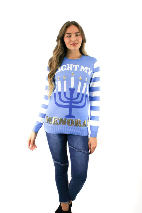 Light Up My Menorah Christmas Sweater 7pcs