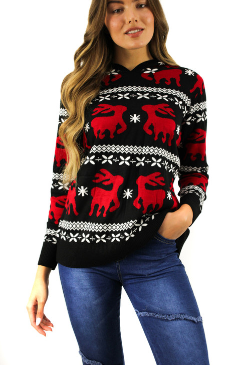 Reindeer Hoodie Christmas Sweater Black Front