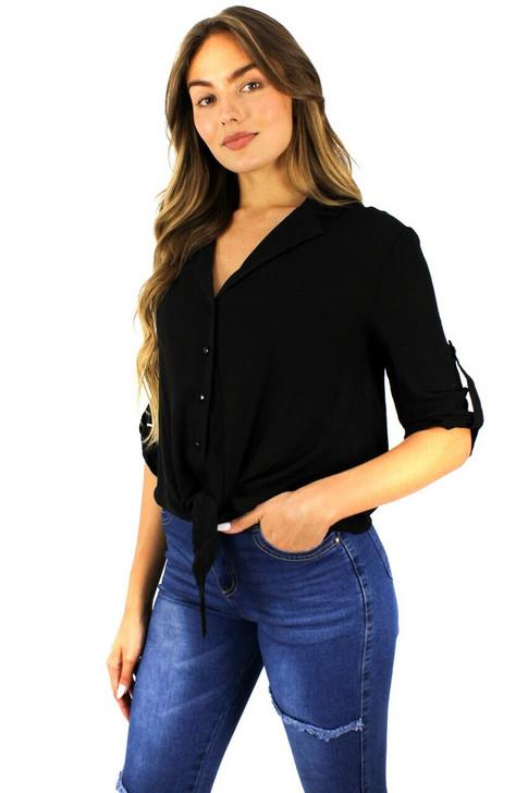 Black Button Up Tie Notched Blouse 6pcs