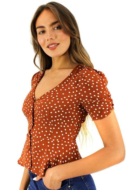 V-neck Button Up Dot Blouse 6pcs
