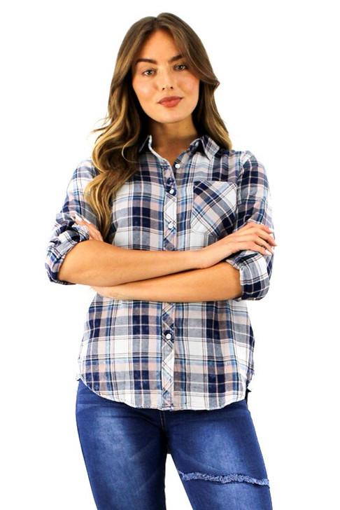Tartan Button Tab Sleeve Pocket Shirt 6pcs