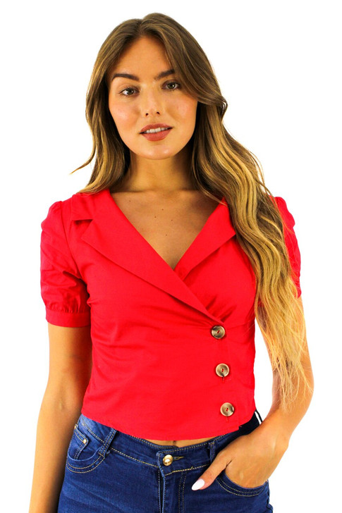 Red Wrap Buttons Notched Ringer Sleeve Shirt 6pcs