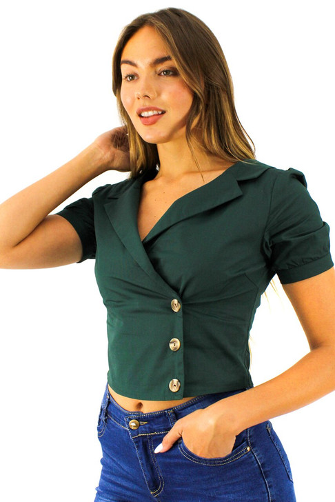 Green Wrap Buttons Notched Ringer Sleeve Shirt 6pcs
