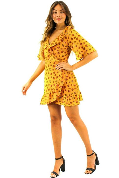 Yellow Floral Wrap Mini Dress 6pcs