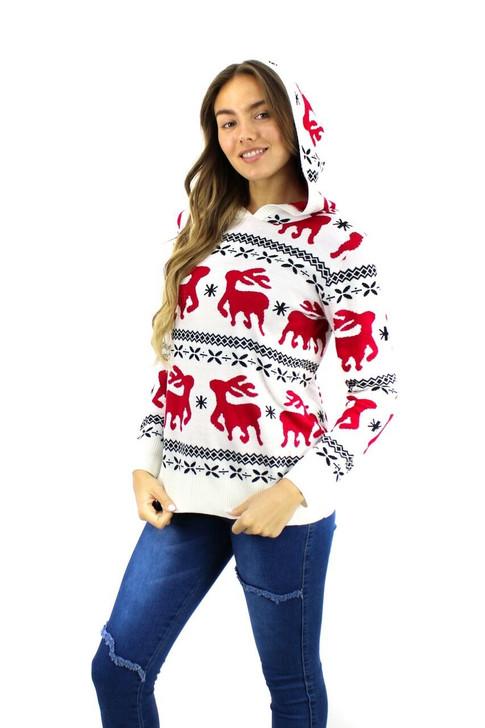 White Reindeer Hoodie Christmas Sweater 9pcs