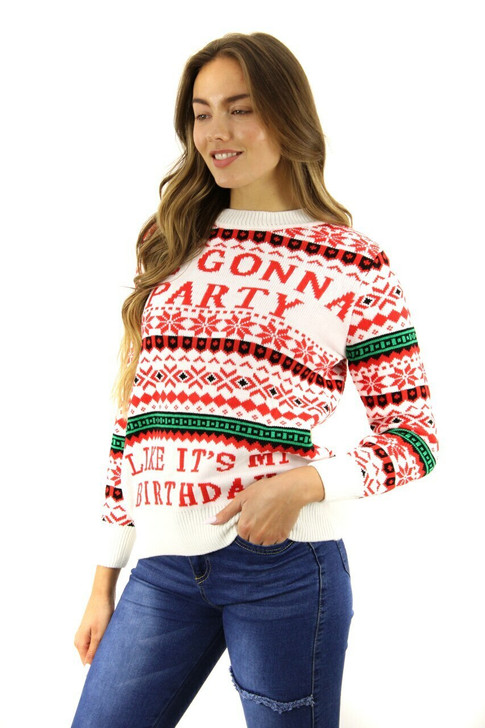 White Im Going to Party Like Its My Birthday Christmas Sweater 8pcs