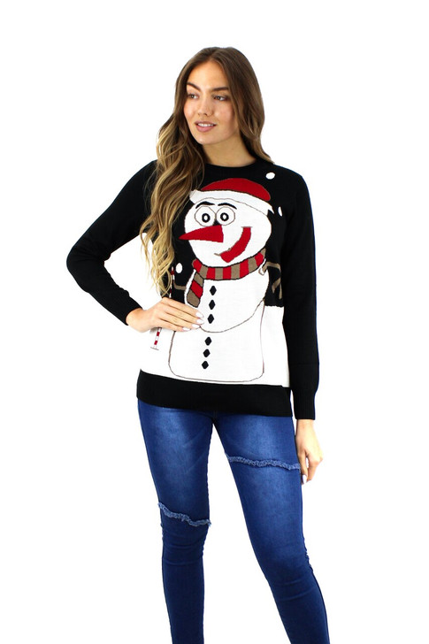 Black Dot Snowman Christmas Sweater 8pcs