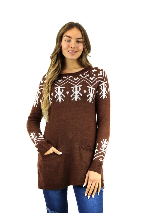 Brown Abstract Designed Christmas Sweater with Pockets 10pcs