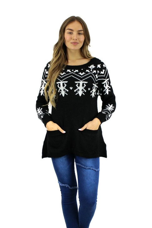 Black Abstract Designed Christmas Sweater with Pockets 10pcs
