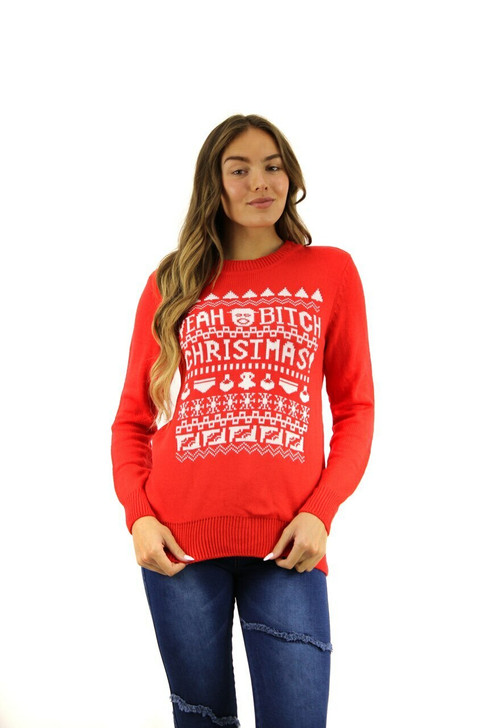 Red BRBD Yeah Bitch Themed Christmas Sweater 8pcs