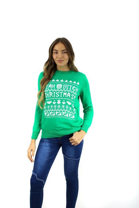 Green BRBD Yeah Bitch Themed Christmas Sweater 8pcs