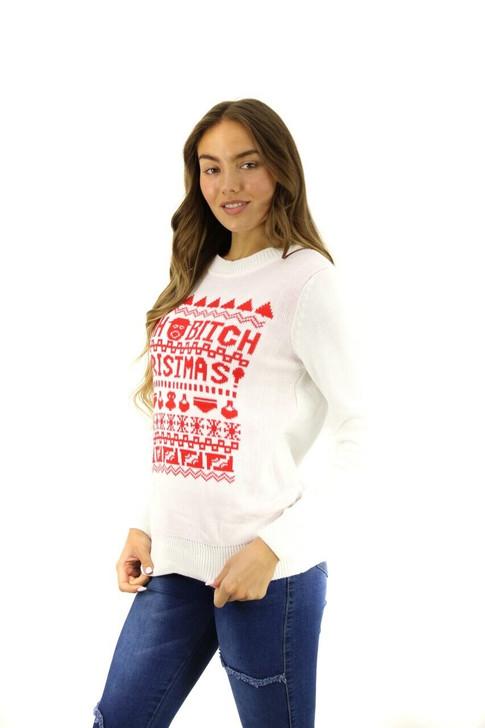 White BRBD Yeah Bitch Themed Christmas Sweater 8pcs