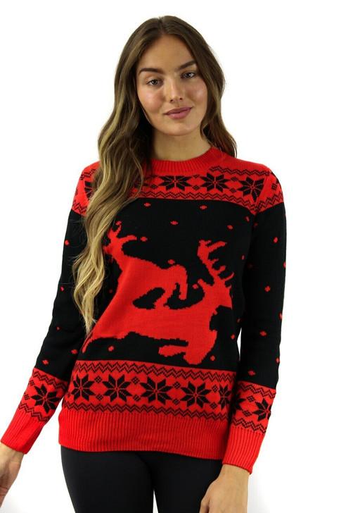Black/Red Reindeer Christmas Sweater 8pcs