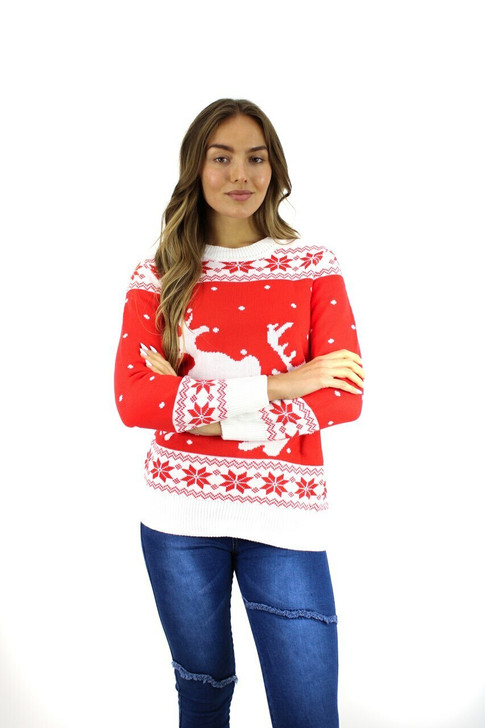 White/Red Reindeer Christmas Sweater 8pcs