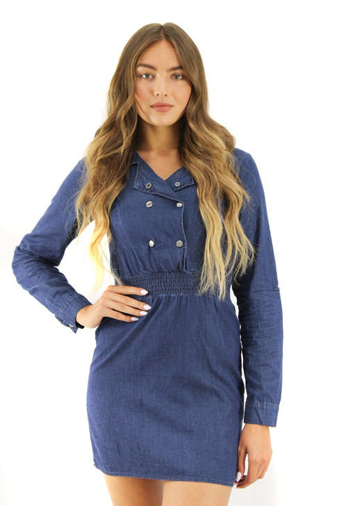 Long Sleeve Denim Mini Dress 6pcs